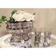 DRULINE Dekoschale Dekovase Keramikschale Keramikvase Keramik Silber Hochglanz Shabby