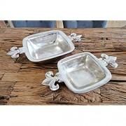 Schale Lilie Dekoteller Deko Aluminium Silber - Moderne Dekoschale aus Metall - 45/52 cm 45x23x7 cm