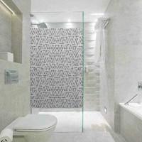 Statisch haftender Buntglas-Folie Buntglas-Fensteraufkleber graue Dekor-Blur-Mix-Dreiecke mit weicher Oberfläche für Zuhause Glasfolie für Badezimmer Meeting Living Ro 89 9 cm B x 199 9 cm L