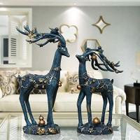 Tesysyet Europäische Heimdekoration leuchtende Bronze-Hirschpaare Kunstharz Ornamente kreative Geschenke Basteln Ornamente Blumen Langlebigkeit Hirsch Ornamente 19 x 13 x 36 cm