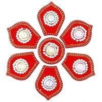 NAVRANG Diwali Rangoli Bodenaufkleber Acryl handgefertigt Sechseck-Design Rot 7 Stück Diamanten Kundan und dekorative Steine