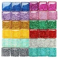 TsunNee 0 45KG Dekoratives Glasgranulat gemischte Steinperlen in Glitzerfarbe quadratische Vasen-Nuggets Mosaikfliesen DIY-Steinedelsteine für das Hausgarten-Hochzeitsdenkmal-Aquarium