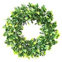 30cm Ostern Türkranz künstlicher grüner Kranz dekorativer Wandkranz Tür Kranz künstliche Pflanzengirlande mit Blumen und grünen Blättern für Haustür Wand Kamin Fenster Hochzeit im Freien E