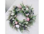 DADEA 50 8 cm künstlicher Osterkranz für Haustür Ostereier-Kranz mit bunten Eiern und grünen Blättern dekorativer Frühlingskranz für Wand Zuhause Party Hochzeit Dekor