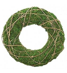 Deko-Kranz aus Moos mit Reisig umwickelt grün Ø 30 cm Wandkranz Tischkranz Türkranz