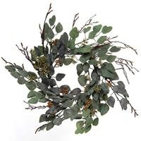 Floral Home Eukalyptus-Kranz 50 8 cm Salbei-Eukalyptus-Kranz detailliertes Eukalyptusblatt 14 dekorative Zweige Zuhause Tür Event Fensterdekoration