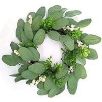 Grüne Blätterkranz für Frühling und Sommer 38 1 cm künstlicher Kranz mit kleinen weißen Beeren für Haustür Wand Fenster Heimdekoration