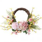 INFILM Künstlicher Frühlingskranz 40 6 cm dekorative rosa Nelke Blumengirlande Vordertür hängende Hortensienkränze mit gelbem Jasmin für Zuhause Party Fenster Wand Hochzeitsdekoration