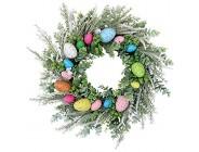JIESD-Z Künstlicher Osterkranz mit Ostereiern Frühlingsgrüne Blätter Kranz dekorativ bunt Blumen Eierkranz für Haustür Wand Fenster