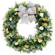 Snakell Künstlicher Eukalyptus Kranz Dekorativer Wandkranz Deko Weidenkranz Kranz Künstliche Frühling Dekorative Kranz Blumenkranz Hochzeit Türkranz
