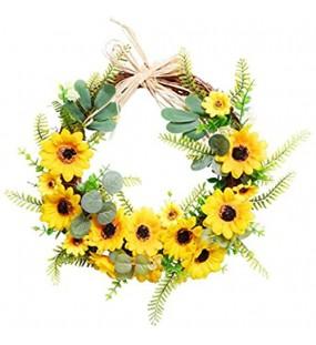 YIPON Natürlicher Rattan-Kranz künstliche Sonnenblume handgefertigt dekorativer Kranz hängende Ornamente für Familie Hochzeit Fenster Wanddekoration