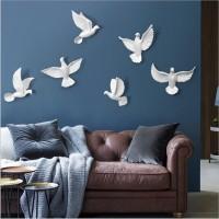 6PCS Europäischen Wand Hängen Harz Vögel Dekoration Handwerk 3D Stereo Taube Hause Wohnzimmer Sofa TV hintergrund Wandbild Ornamente Kunst Rahmen