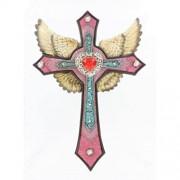 Goldene Engelsflügel rosa Wandkreuz - aufwendige Details Kunstleder und Strass - Rock and Roll Engel