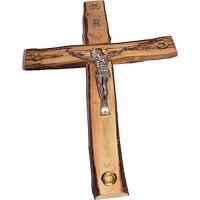 Holy Land Market Kruzifix aus Bethlehem mit rustikalen/rindenförmigen Kanten Olivenholz groß