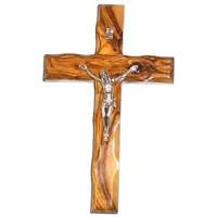 HolyRoses Christliches Kruzifix aus Olivenholz handgefertigt in Bethlehem 15 2 cm