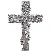 Old River Outdoors Baum des Lebens Wandkreuz – rustikale Antik-Silber-Finish Dekorative spirituelle Kunst Skulptur