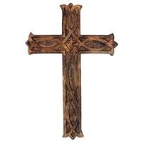 storeindya Geschenke Hölzernes Wand-Kreuz rustikales Keltisches Jesus Kreuz christliches katholisches religiöses Wooden Wall Cross zum Ihres Altars zu schmieren Gebranntes Endwand dekor