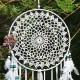 EasyBravo großer Traumfänger im Boho-Stil mit weißer Feder und blauen Perlen Makramee Wandbehang für Vintage-Hochzeit oder zur Heimdekoration 25cm großer Kreis 70cm lang