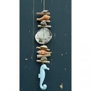 Girlande aus Treibholz mit einem Seepferd aus Holz Muschel Treibholz Windspiel Fensterdeko Hängedeko Mobile Hängemobile