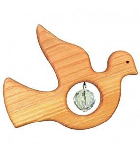 Holz Spiel Art Sonnenfänger aus Holz mit Swarovski-Kristall in Taube