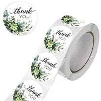 Greenery Frames Thank You Stickers 500 1.5 Inch Circle Labels Stickers Roll for Small Business Envelope Bags Boxes Wedding Bridal Showers and Party