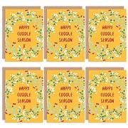 Wee Blue Coo Christmas Cards 6 Pack - Cuddle Season Mistletoe Set Xmas Cards Christus