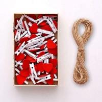XHINB 50 Fotos Holz Clip hanfseil wanddekoration frei stanzfarbe rot Liebe kreative persönlichkeit niedlich Schlafzimmer Wohnzimmer