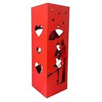 CAI & ZAI Schirmständer Love quadratisch mit ausziehbarem Wanne - Maße 15 x 15 x 47 cm - Rot - Made in Italy-Design Modern - Geeignet für Innen und Außen