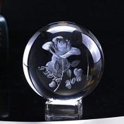 Kristallkugel 6cm Kristall Rose Ball 3D Miniatur Blume Glas Kugel Lasergravierte Globus Geschenk Hochzeit Geschenk Ornament Home Decro Valentines Day Schneekugeln  Color : With crystal base