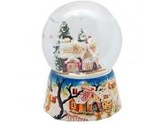Minium Collection 20004w Schneekugel Zuckerbäckerhaus Weihnachten Lebkuchenhaus mit Porzellansockel Landschaft mit Spieluhr We Wish You a Merry Christmas Durchmesser 100mm