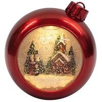 Roman Inc. 17 8cm rot Weihnachten Leuchtmittel Ornament Swirl Glitter Dome Snow Globe mit Kirche und Victorian Carolers