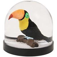 Witzige Schüttelkugel Schneekugel hochwertig mit Tukan und weißem Glitter 8 x Ø 8.5 cm