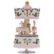 ammoon Laxury Aufziehbare 3-Pferd Karussell Spieluhr Artware/Gift Melodie Schloss im Himmel rosa/lila/blau/Gold Schatten für Option