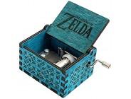 """FnLy Spieluhr aus Holz mit Gravur """"Legend of Zelda"""" mit 18 Tönen antike geschnitzte Handkurbel Spieluhr Geschenk blau"""