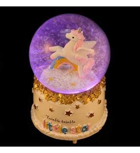 PRETYZOOM Schneeball Nachtlichter Einhorn Musikalische Schneekugel Spieluhr Desktop Ornament für Mädchen Und Jungen Regenbogen-Stil