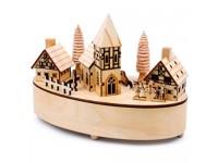 """Spieluhr """"kleines Dorf"""" Winterkulisse aus detailliert gearbeitetem Sperrholz Kirche dreht sich sanft zu der Melodie """"Stille Nacht"""" schöne Weihnachtsdekoration mit gelben LED-Lämpchen in den Häusern"""