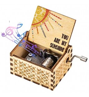You Are My Sunshine Music Box Wood Personalizable Music Box Laser Engraved Vintage Wooden Sunshine Musical Box Gifts for Birthday/Christmas Sunshine