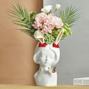 Harz Geweih Mädchen Kleine Vase Einfache Stil Menschliches Gesicht Vase Dekoration Wohnzimmer Schlafzimmer Blume Anordnung Getrocknete Blume Hause Vasen