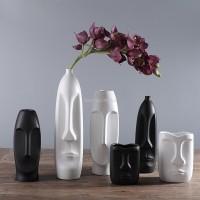 Nordic Minimalistischen Keramik Abstrakte Vase Schwarz und Weiß Menschliches Gesicht Kreative Display Zimmer Figue Kopf Form Tabletop Vase Vasen
