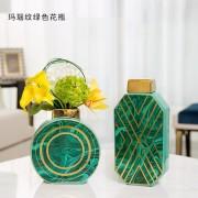 Skandinavischen keramik vase dekoration ornamente grün achat gold umrandeten vase moderne wohnzimmer blume anordnung desktop vase Vasen