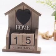 Europäische Retro Alten Klassischen Stil Kleine Haus HOME Modellierung Holz Kalender Kreative Dekoration Home Dekoration Figuren & Miniaturen