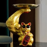 Muscle Arm Glückliche Katze Ornamente Harz Goldene Nette Tier Ablage Ornamente Moderne Wohnzimmer Hause Dekoration Zubehör Figuren & Miniaturen