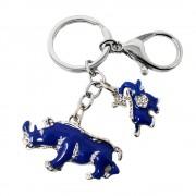 Neue Ankunft Legierung Strass Keychain Blue Elephant Rhinoceros Schutz Schlüssel Ketten W1041 Figuren & Miniaturen