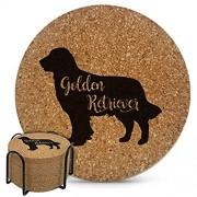Golden Retriever Naturkorkuntersetzer für Getränke absorbierend 10cm 6er Set mit Metallhalter-9mm dick hitze- und wasserbeständig perfekte Dekoration für Hundeliebhaber Einweihungsgeschenk
