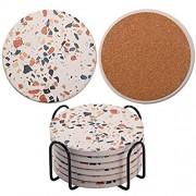Untersetzer für Getränke saugfähige Keramik-Untersetzer im Marmor-Stil mit Korkboden Einweihungsgeschenk für Zuhause und Küche – 6er-Set
