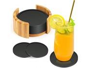Zaloife Untersetzer Gläser Silikon Untersetzer 8er Set Glasuntersetzer in Schwarz Getränkeuntersetzer Silikon Rund Silikonuntersetzer für Gläser Tischuntersetzer Glas für Getränke Tassen Bar