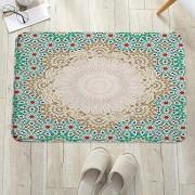 Badezimmerteppich mit Memory Foam Marokkanische osmanische Mosaik Kunst Muster mit orie Rutschfester Badteppich Badematte waschbar schnelltrocknend auch ideal als Duschvorleger Badvorleger 60x100 cm