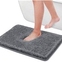 Cumay Badematte saugfähig Rückseite aus rutschfestem Gummi Zubehör-Set für Kinder Grau 50 x 80 cm