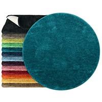 npluseins Mikrofaser Badteppich - viele Farben & Größen 800.1026 Petrol 110 cm rund