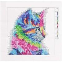LULUVicky Dekoratives Wandgemälde mit bunten Katzen 5D-Stickerei Malerei Heimdekoration geeignet für Zuhause und Büro